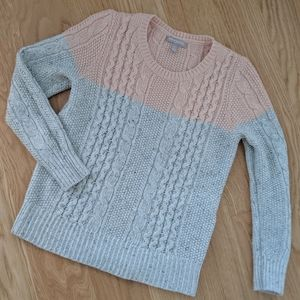 Banana Republic Pink & Gray Cable Knit Sweater